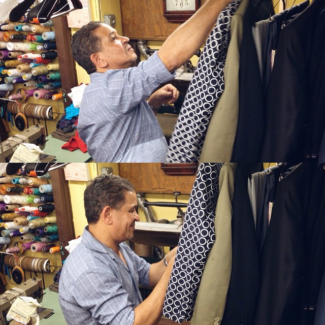 A tailor always takes good pride in his work!  #tailor #stantontailorshop #nyc #fashion #style