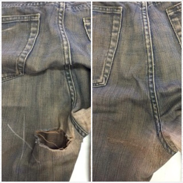 An example of our denim work, repairing a client's favorite pair of jeans! 👖 #tbt #denim #denimwork #denimrepair #stantontailorshop #jeans #fashion #menfashion