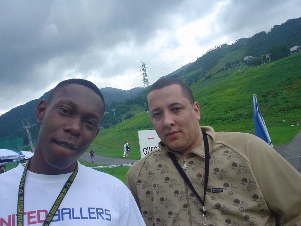 Dizzee Rascal and DJ Semtex at Fuji Rock Festival, Japan in July 2004.