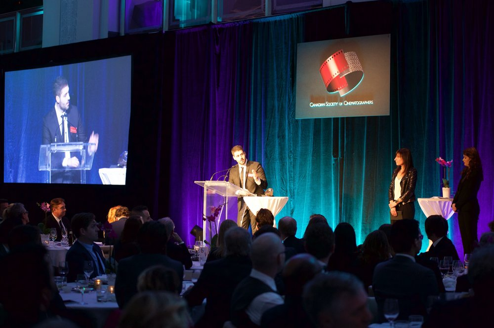 Matt Bendo accepting his award for Best Cinematography in Branded Content at the 60th Annual CSC Awards in 2017 Photo Credit - Samuel Pollock