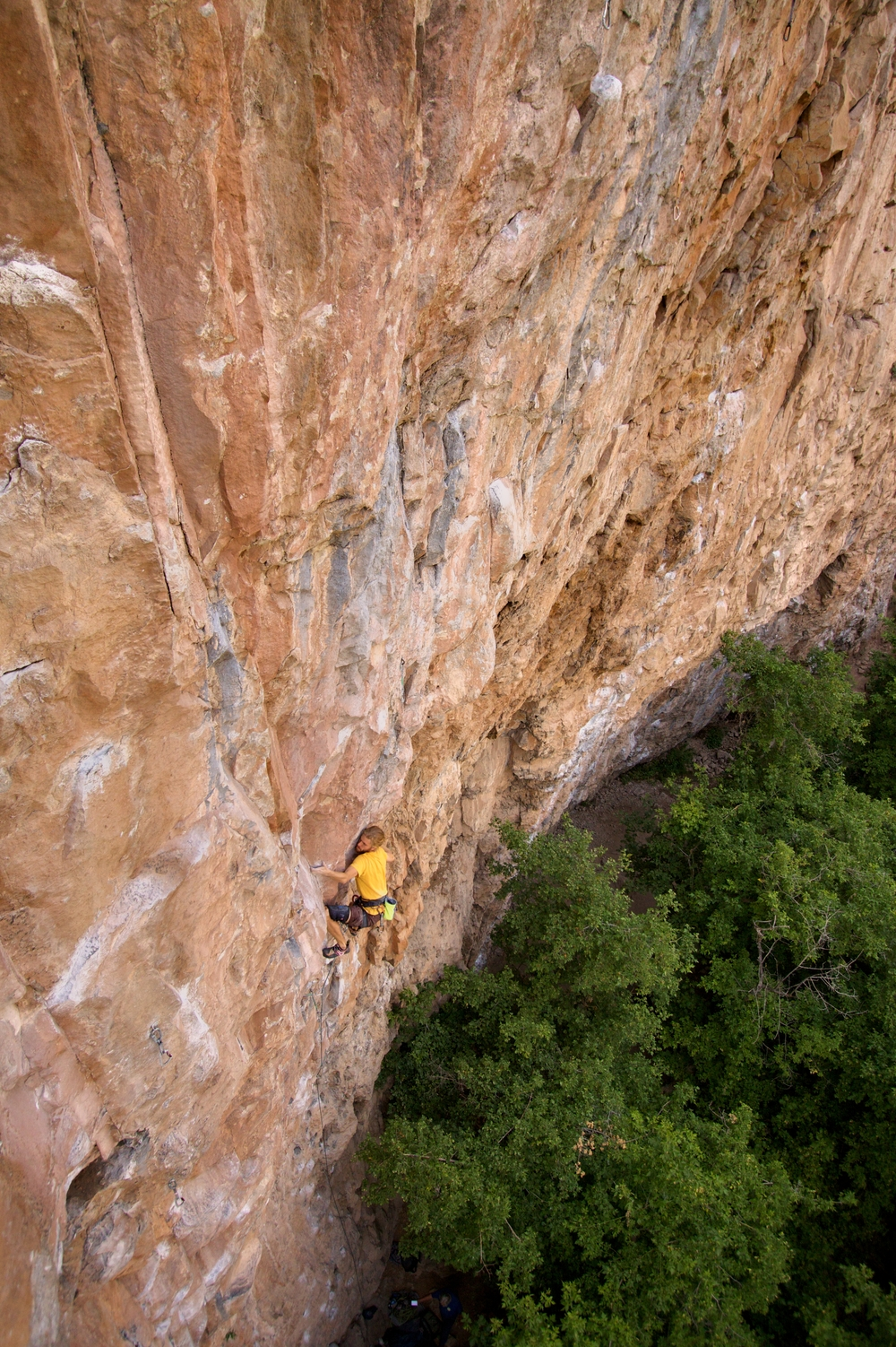 Wrapping up the crux sequence on Beer Run.  Photo by Brendan Leader
