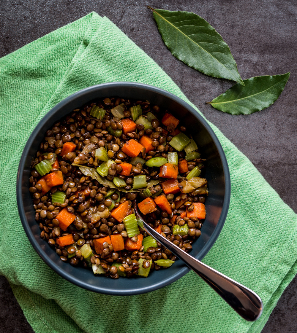 In the spirit of the Loire Valley, France   :  Lentils braised in white wine and chicken stock, carrot, celery, bay leaf, olive oil  :  Pair with virtually any white or red from the Loire Valley