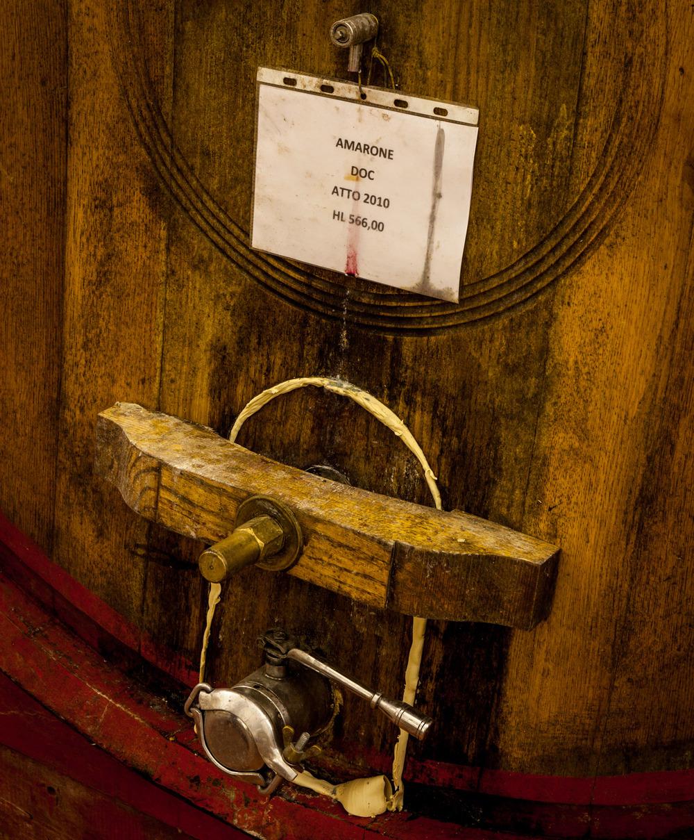 Italy : Veneto : Amarone in cask at Azienda Agricola Brigaldara, San Pietro in Cariano