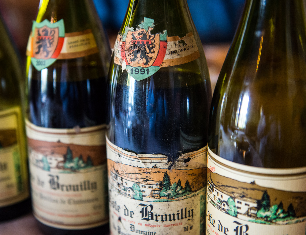 France : Beaujolais : Inspecting beautiful old vintages at Pavillon de Chavannes