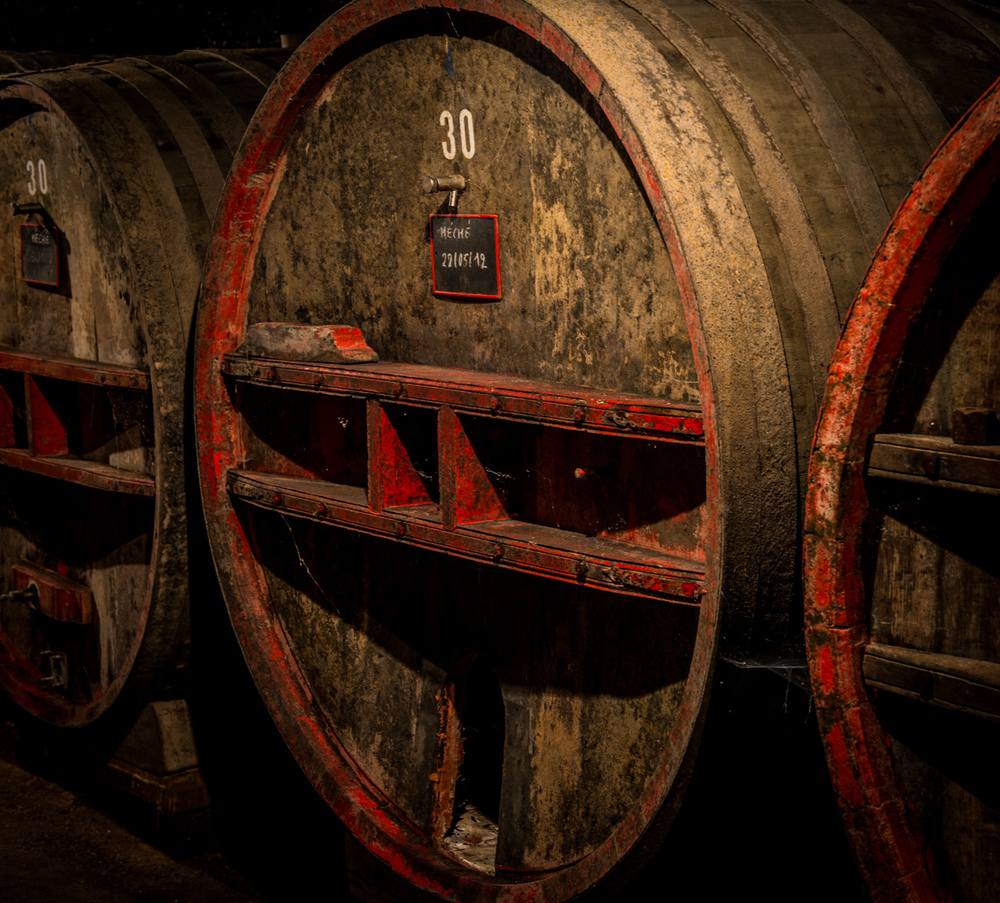 France : Beaujolais : In the cellar at Pavillon de Chavannes in Cote de Brouilly