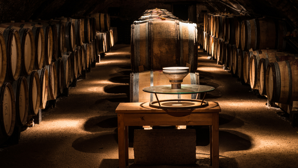 France : Beaujolais : In the cellar at Chateau de Lavernette