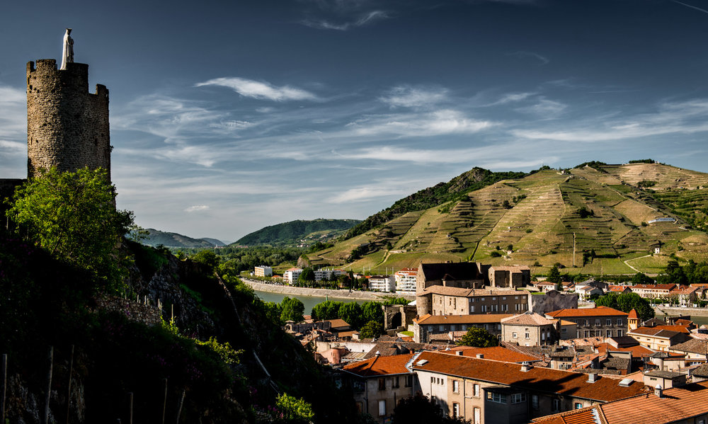 France : Northern Rhone : The hill of Hermitage with Tour de l'Hopital in Tournon looking on