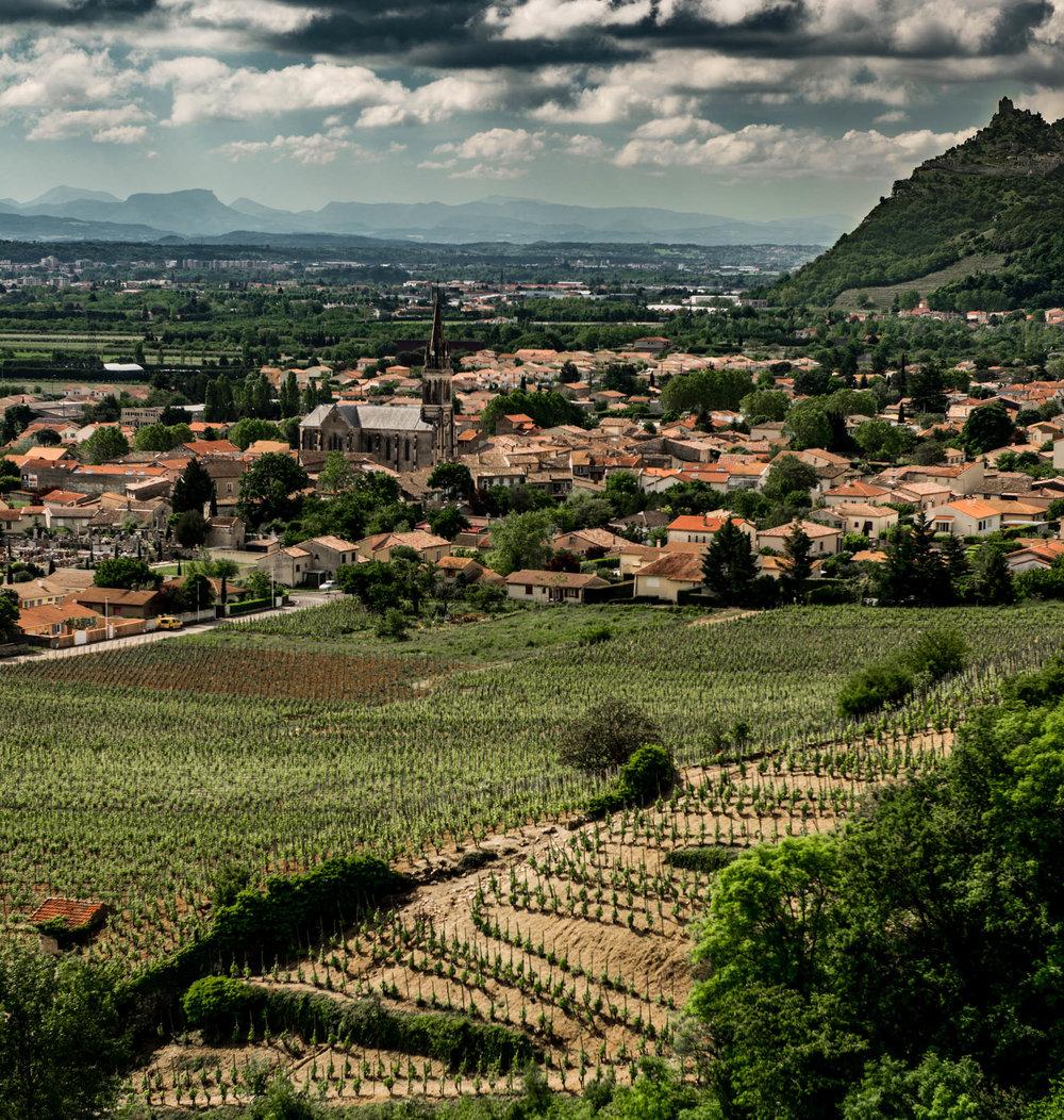 France : Northern Rhone : Cornas village and Mazards vineyard