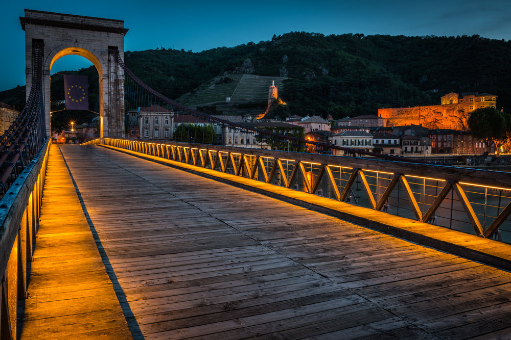 France : Northern Rhone : The pedestrian bridge leading to Tournon-sur-Rhone