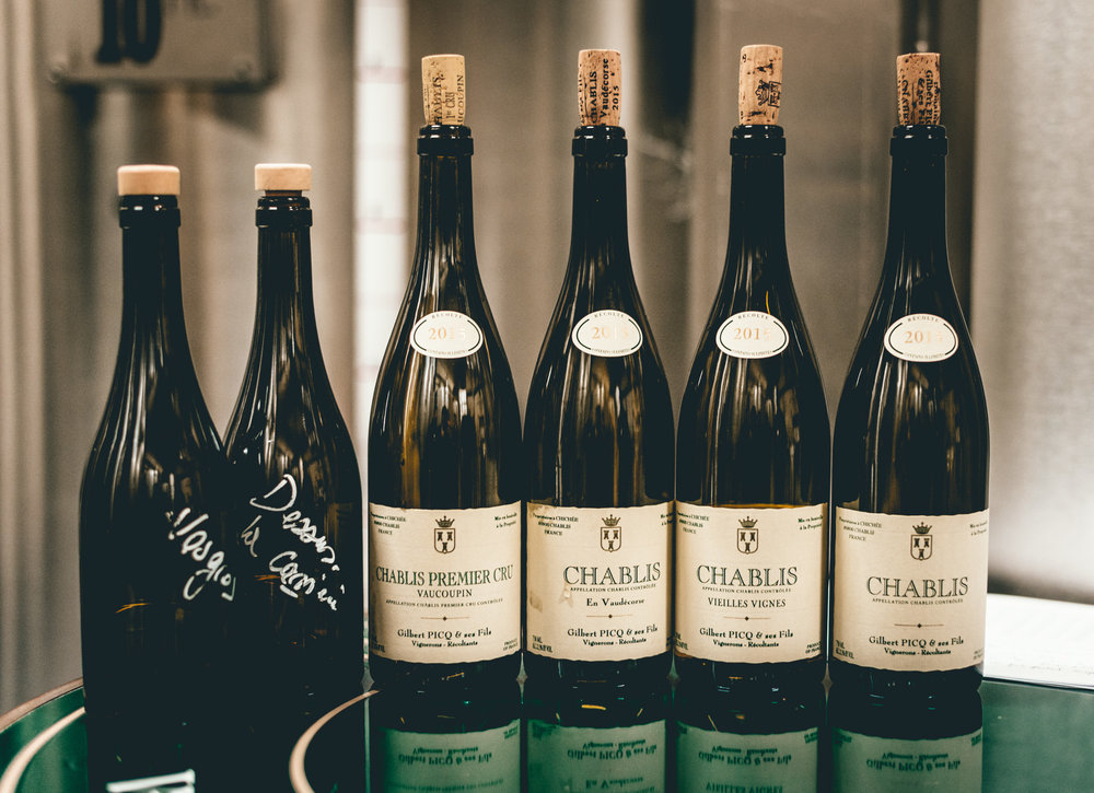 Burgundy : Chablis : Tasting in the tank room at Gilbert Picq