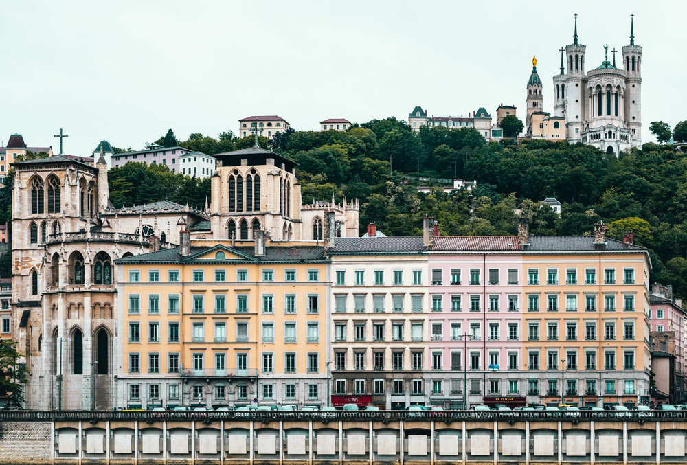 France : Lyon : Cathedrale Saint-Jean-Baptiste (left foreground) and La Basilique Notre Dame de Fourviere (back right)