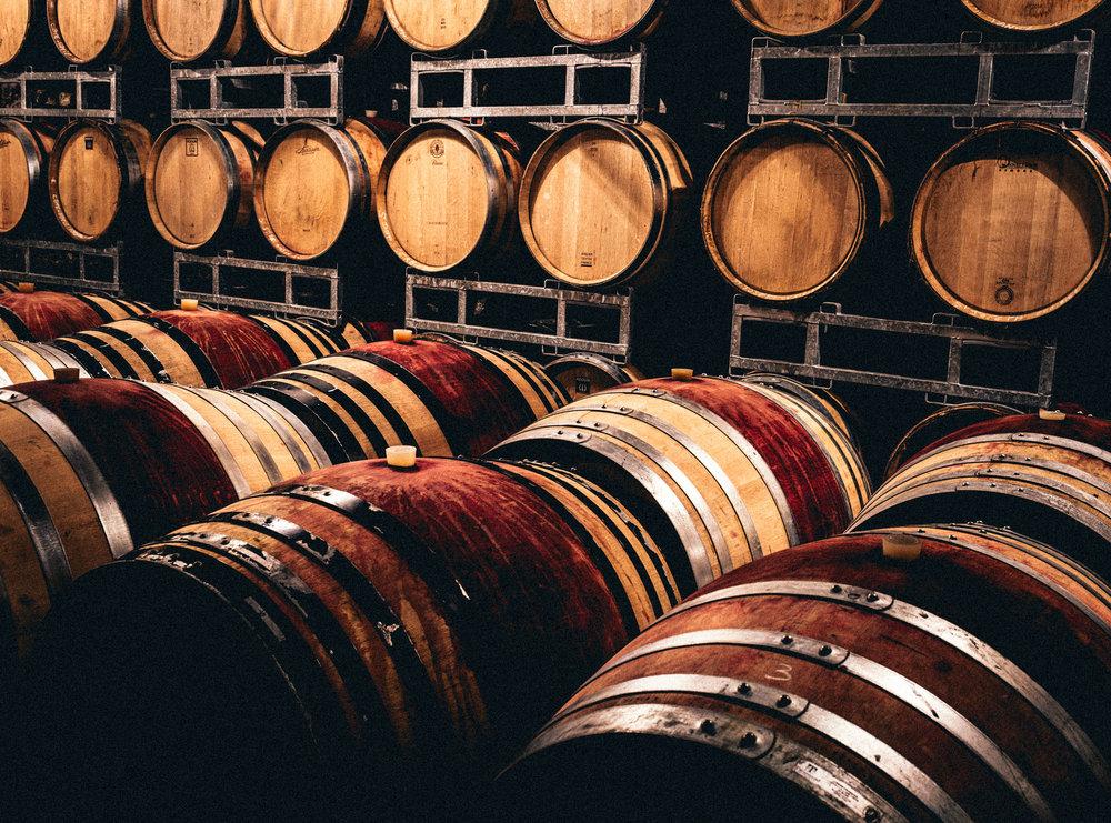 France : Northern Rhone : Barrels at Pierre Jean Villa's estate