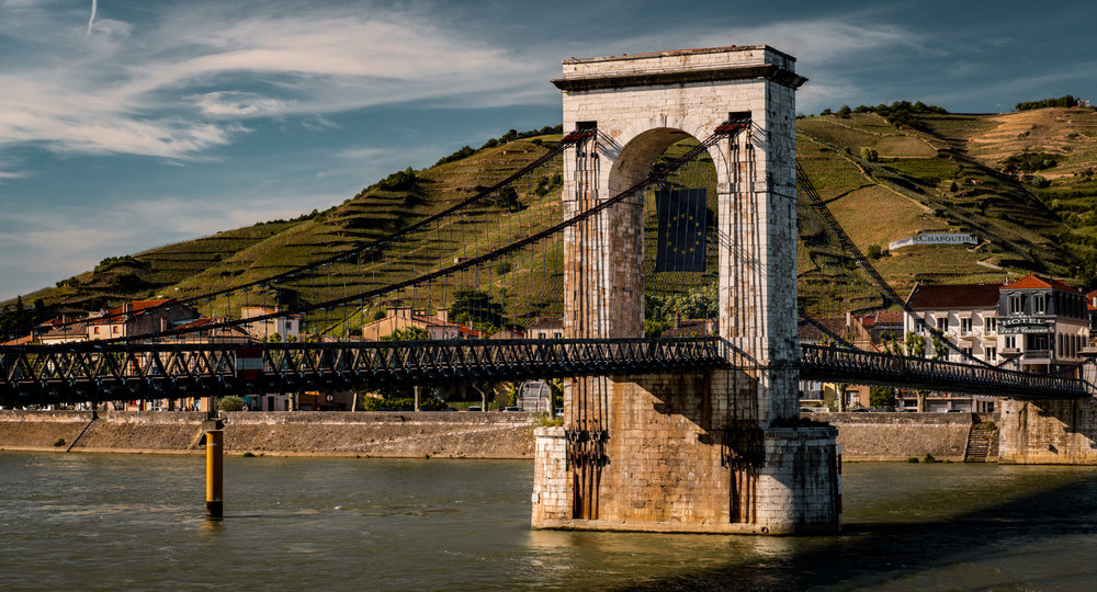 France : Northern Rhone : Pedestrian bridge connecting Tain l'Hermitage and Tournon-sur-Rhone
