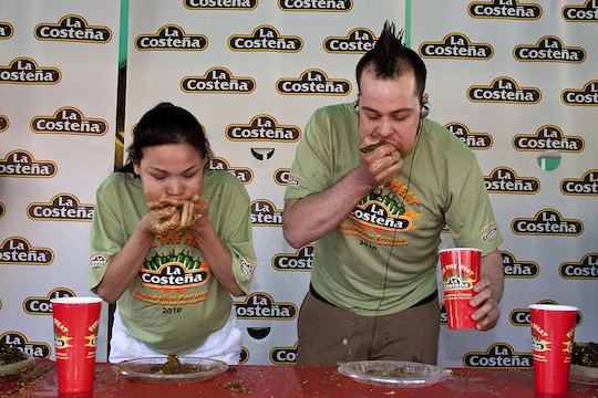 Scene from the La Costena jalapeño eating contest.  Do not try this at home.