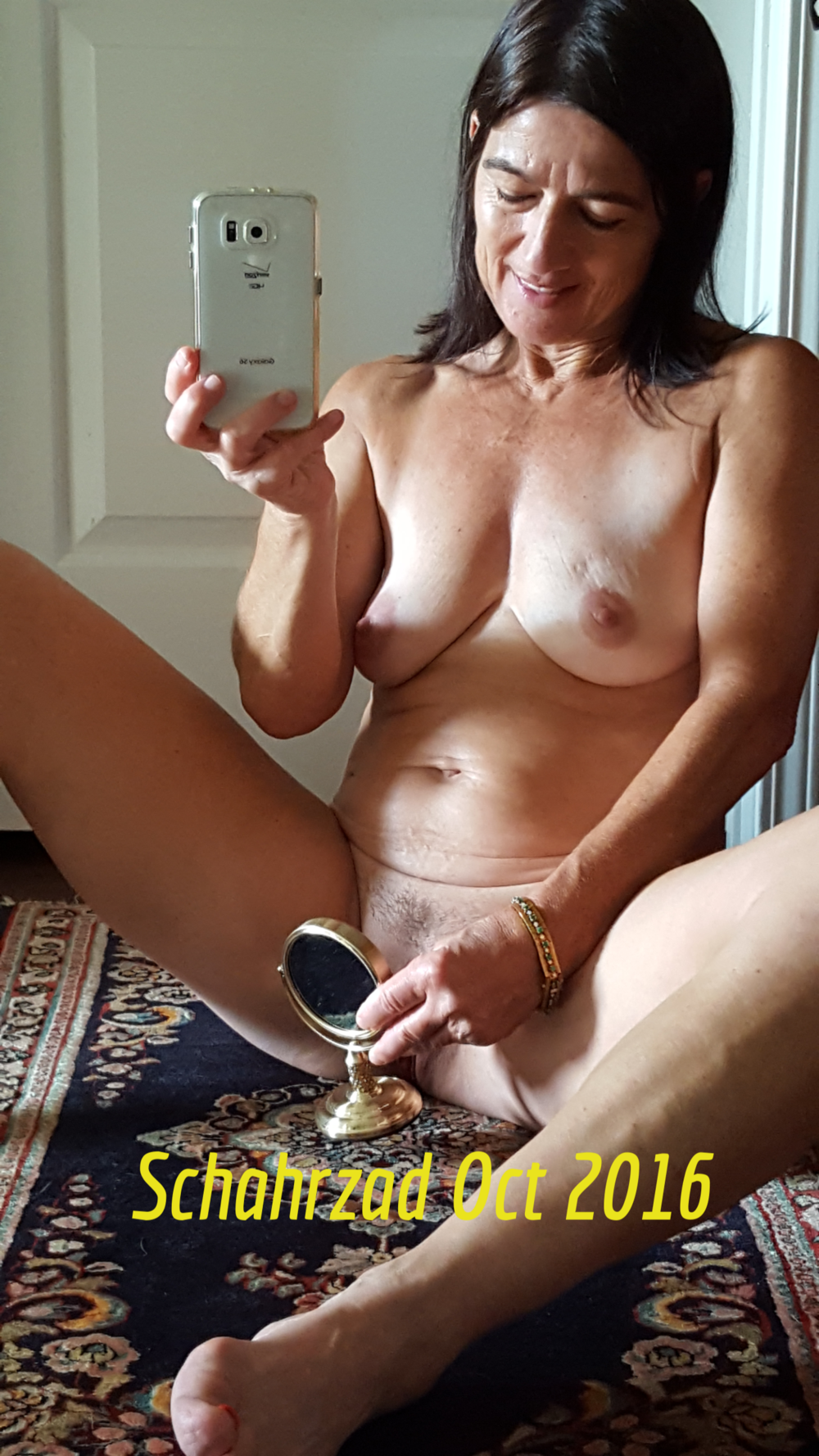 Old mature takes two cocks from both sides 6