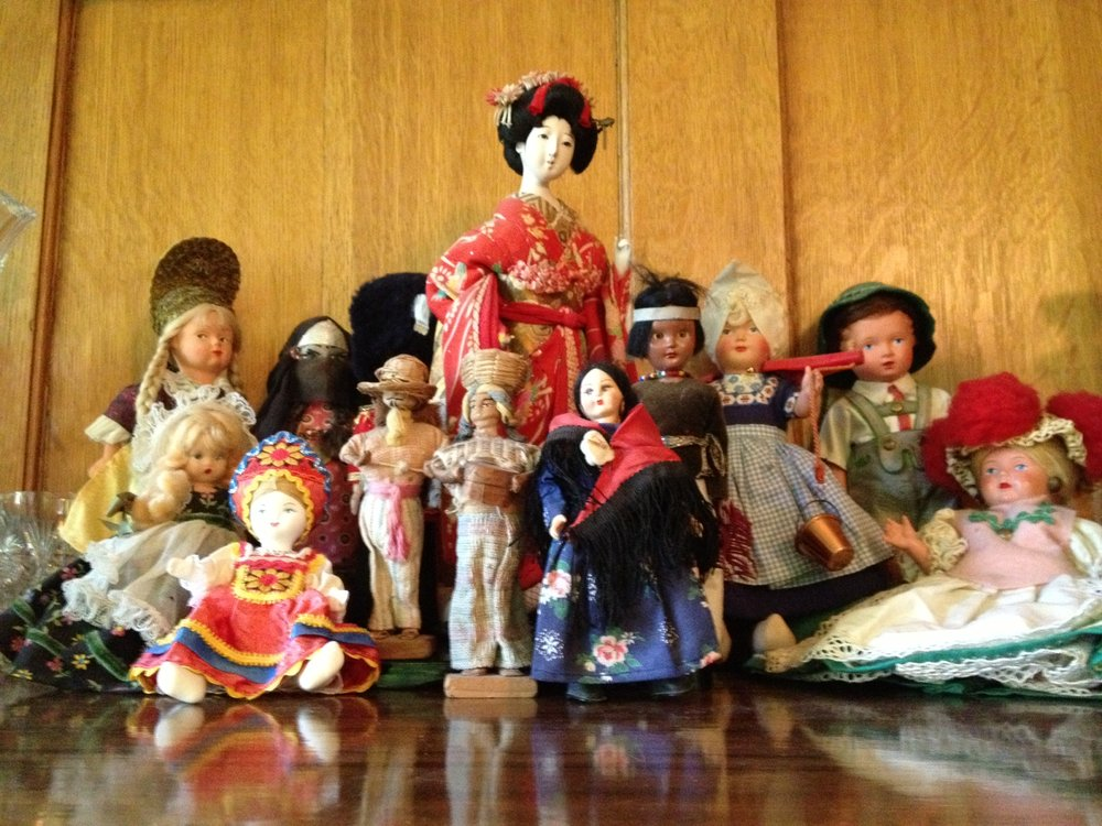 Part of Catherine Madison's childhood doll collection, which managed to survive so many moves. These old friends were finally unpacked and displayed after spending 40 years in boxes.
