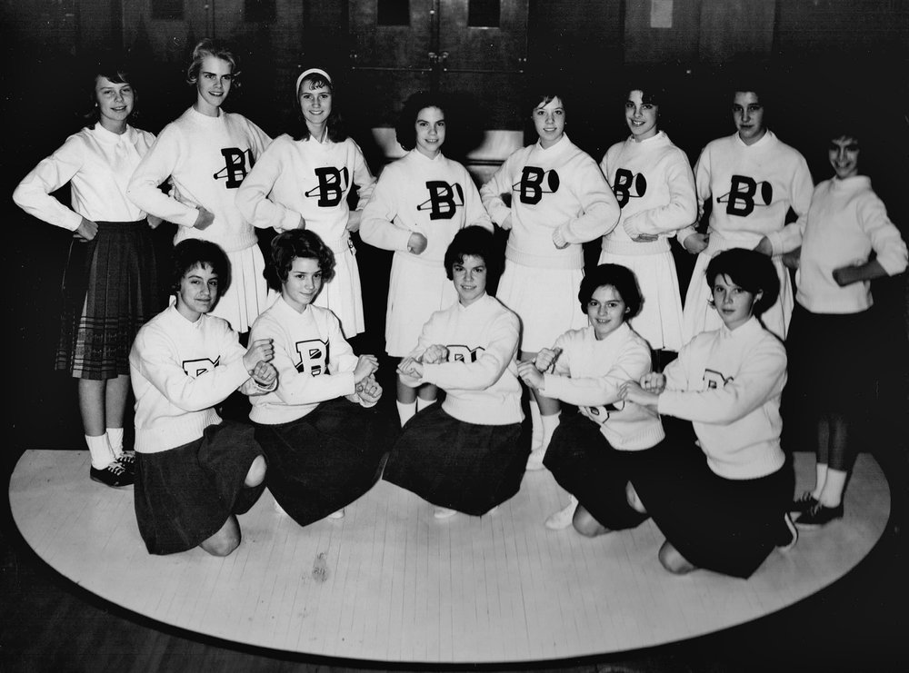 The 1963 cheerleading squad of Broome Junior High in Rockville, Maryland. The author is in the back row, second from left.