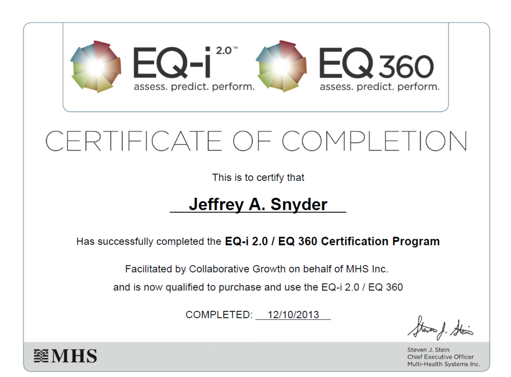 Jeff Snyder Emotional Intelligence Coaching Certification