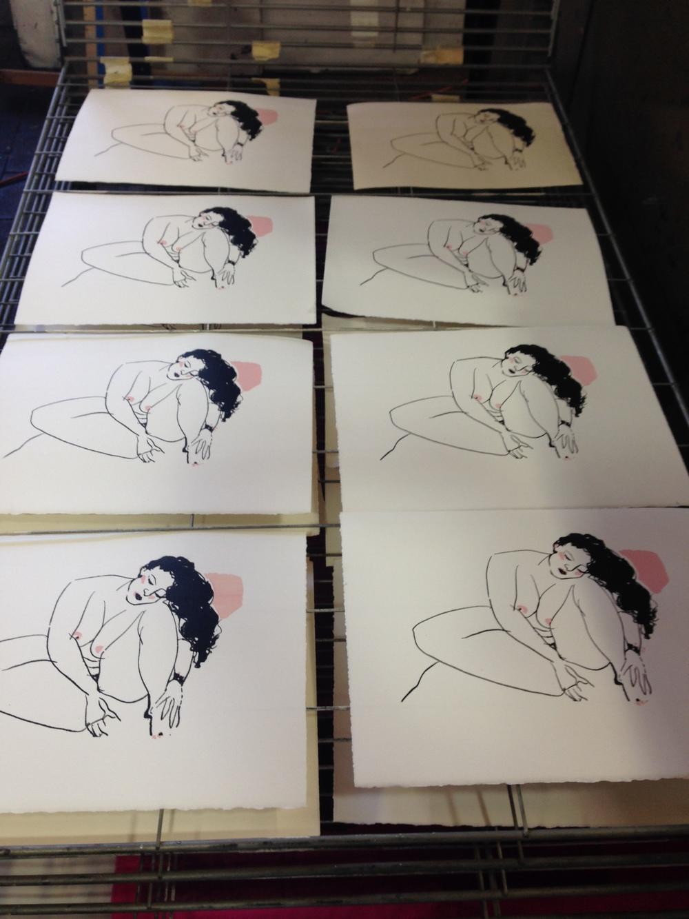 My silkscreen print edition on the drying rack at Kala.