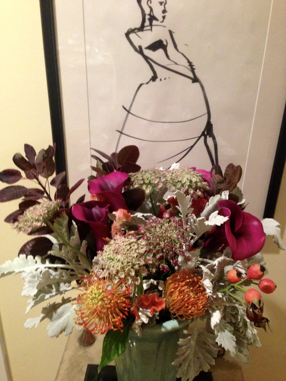 Fred's flowers the day after the show - transferred to a home vase. Just as gorgeous, I think.