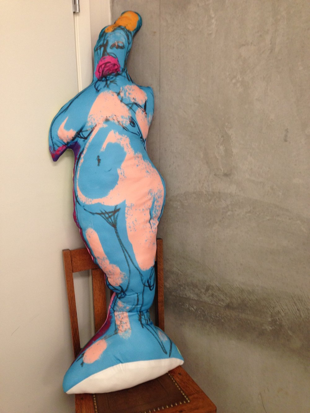 Did you see her? Blue Woman with Pink Posey. She's the first of my life-sized soft sculptures of women. So excited about this new series. Hoping to make a roomful at the next show!