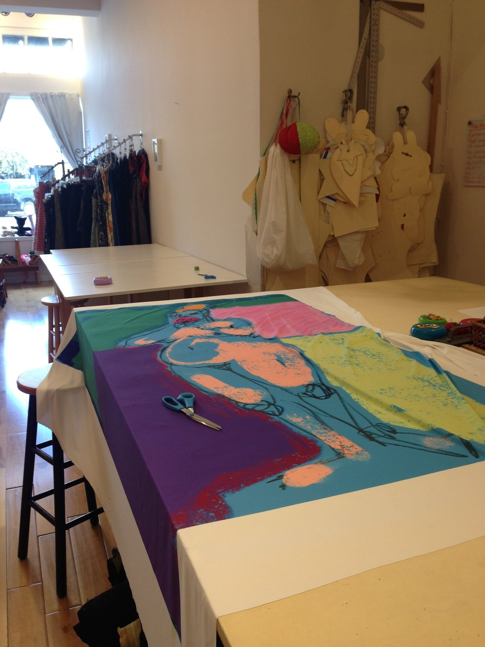 Getting ready 2: Cutting, sewing, and stuffing. The process of making my soft sculpture at SEW.