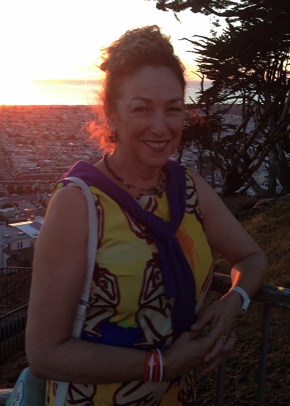Sunset walk for inspiration in the hood, in San Francisco, CA. I'm big on urban hiking. I'm wearing one of my art dresses too.