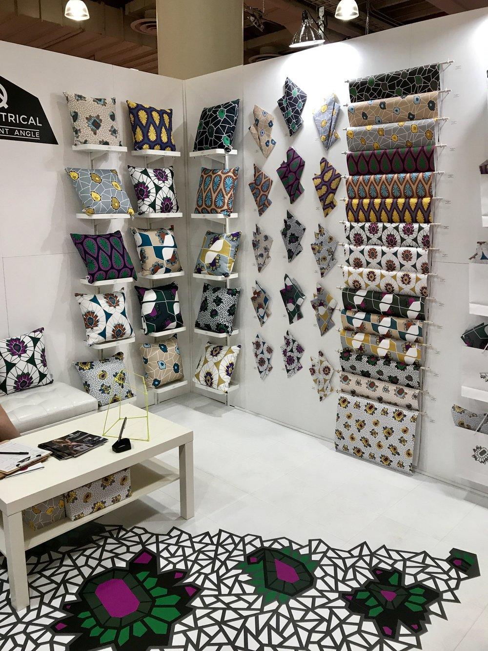 At the Surtex Trade Show in NYC, for art licensing, an attractive booth.