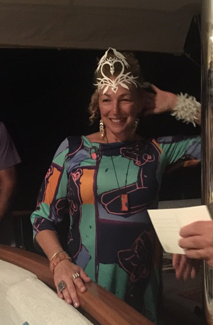 Rituals, performance art, theatre. Call it what you will. Last night party. Aphrodite (my persona) and birthday girl in paper crown by artist Julie Paschkis. Wearing one of my art dresses and necklaces.