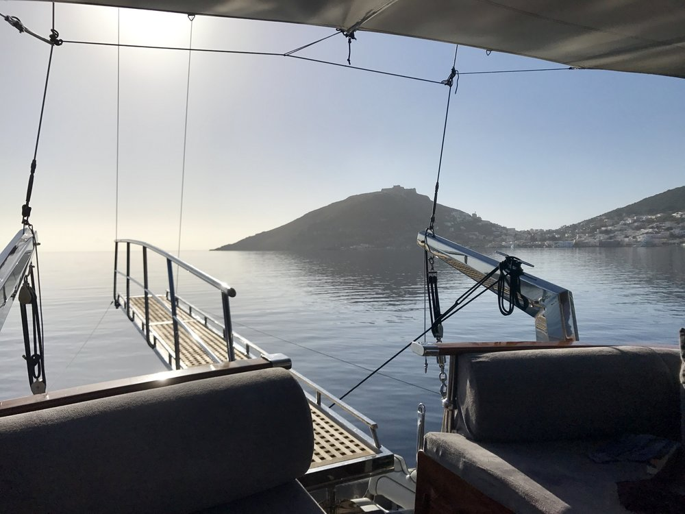 On this rare occasion looking out over our boat at passing islands, I was reminded of home, The Bay Area and our lovely, although sometimes oppressive misty fog.