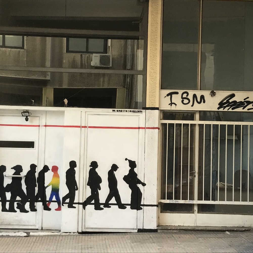 Another interesting statement made graphically in Athens.