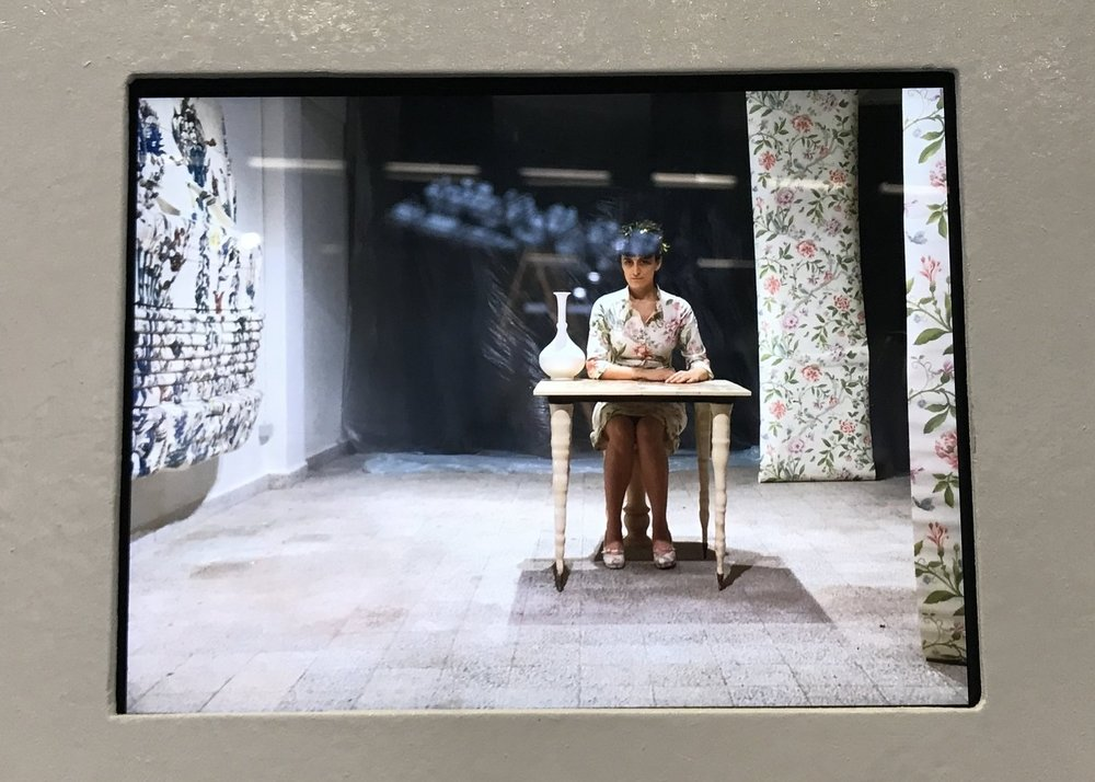 The video portion of this gallery-wide installation. All pieces are for sale individually. At Untitled in the Zilberman Gallery (Istanbul and Berlin) work by Burcak Bingol.