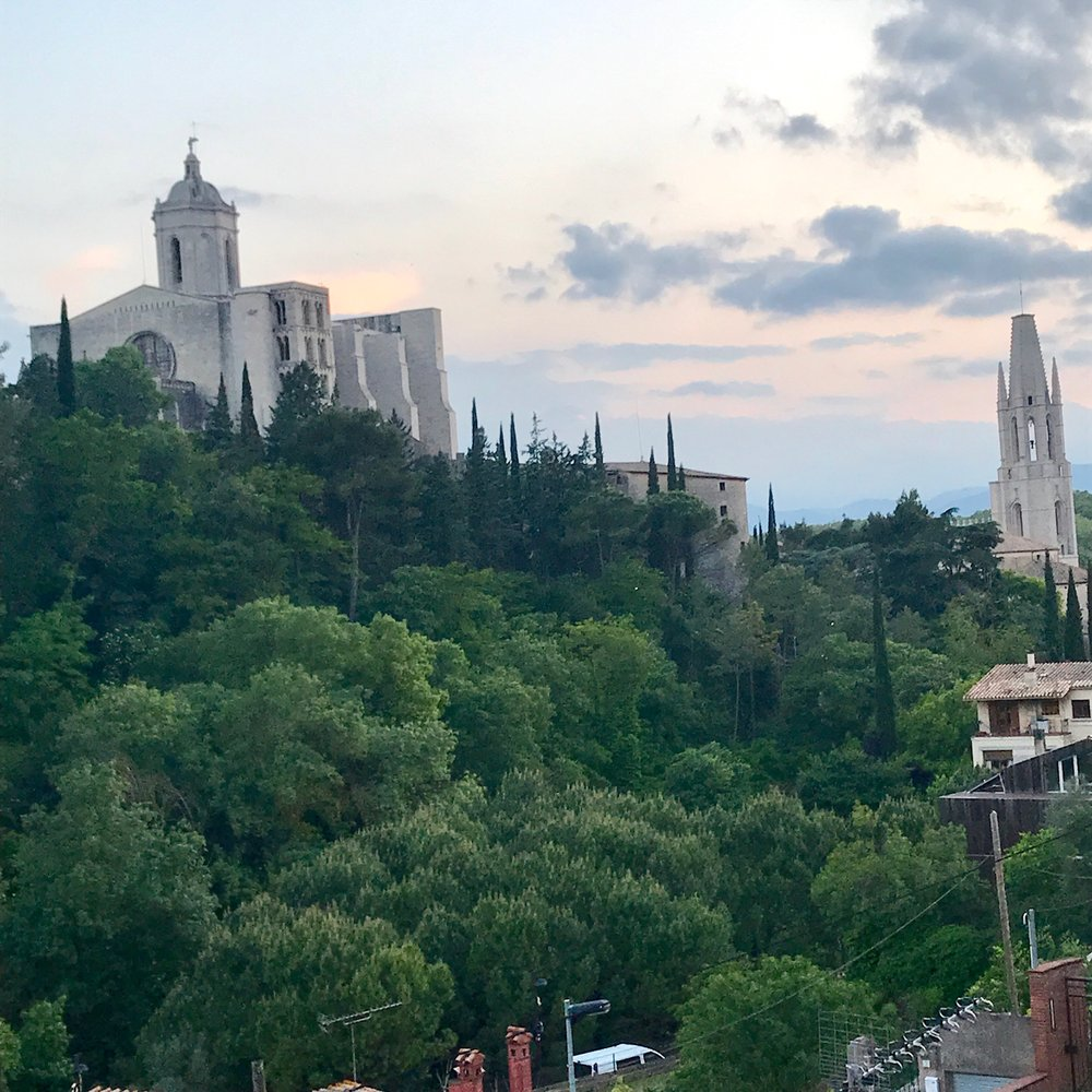 Just five minutes walk from our place via   medieval cobblestone roads we arrived at our friend Shelley's apartment roof deck and this view.