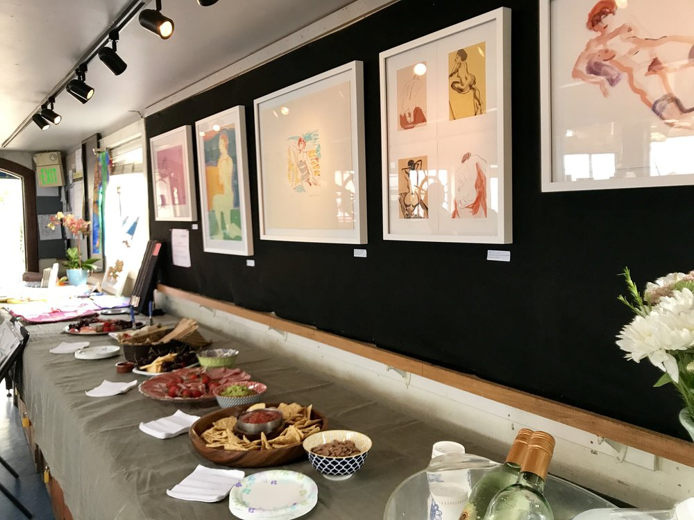 Here's the gallery wall at the Bayview Boat Club, a private club on SF's Embarcadero, where I was invited for a month-long exhibition. I loved the atmosphere of this hidden gem!