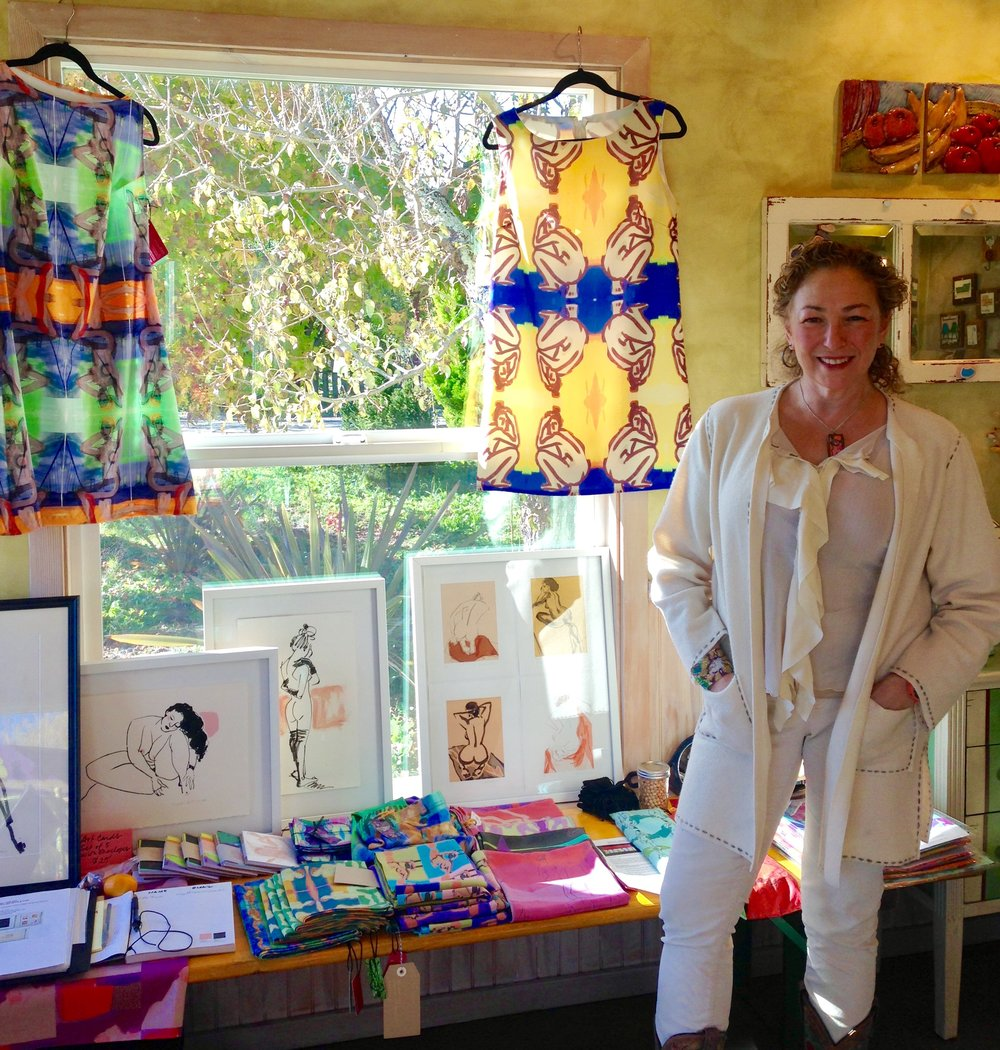 At the Blueberry Farm Pop-Up Holiday Art Show & Sale, with a local group of artists in Sebastopol, CA, Dec 2016