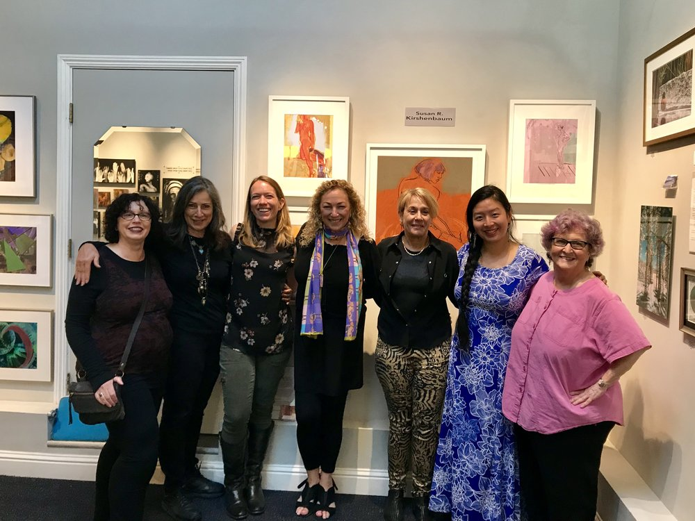 """Here's my Group of SFWA Member Artists at our joint Open Studios 2018. My show (behind us) was titled """"Peeling Back the Layers"""". Fellow artists: Jade, Candice, Amy, Debra, Angela, and Pam."""
