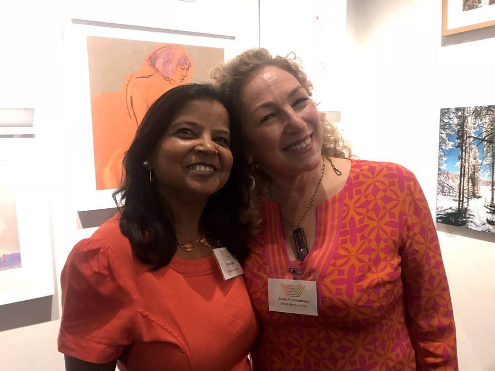 Here's me and artist/member Usha Shukla at the opening reception at SFWA of two shows - Open Studios and Vibrant Visions in October 2018.