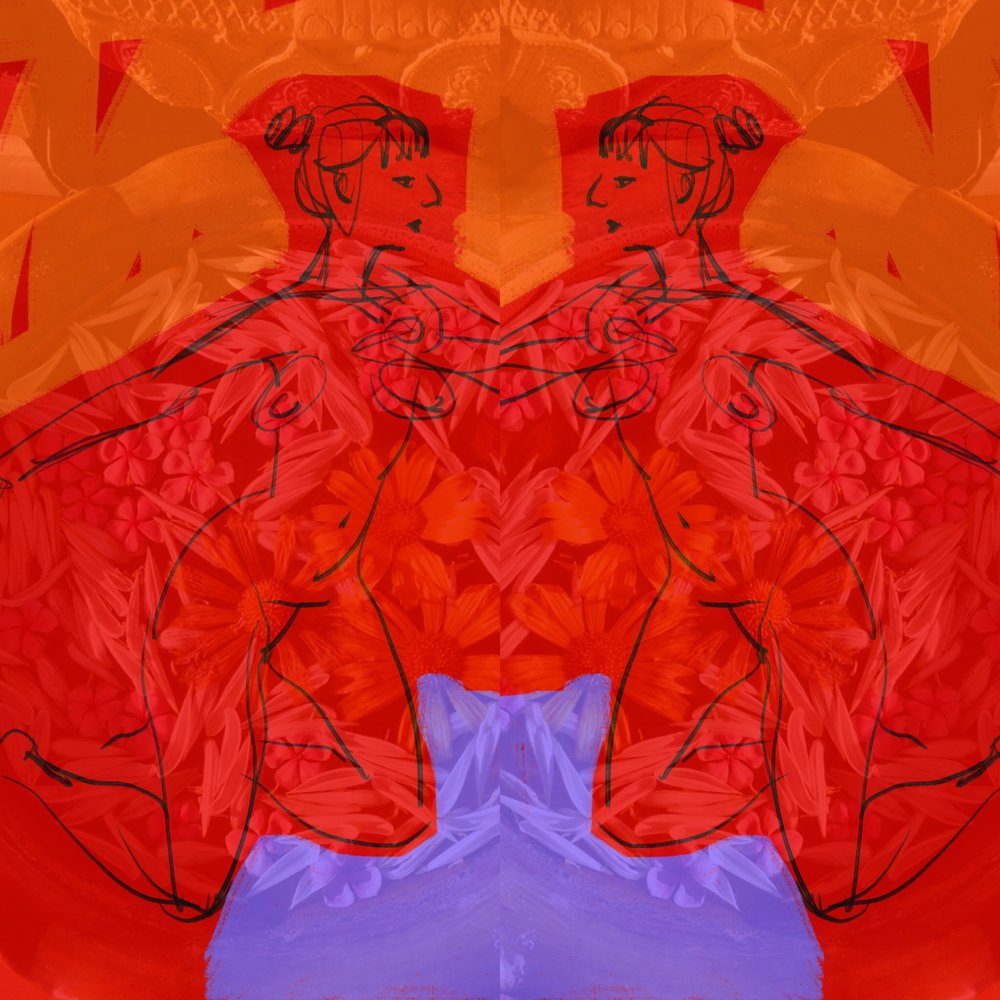 """""""Mirror Series: Offering"""" is an image I shot in Burma then collaged with a mirrored life drawing."""