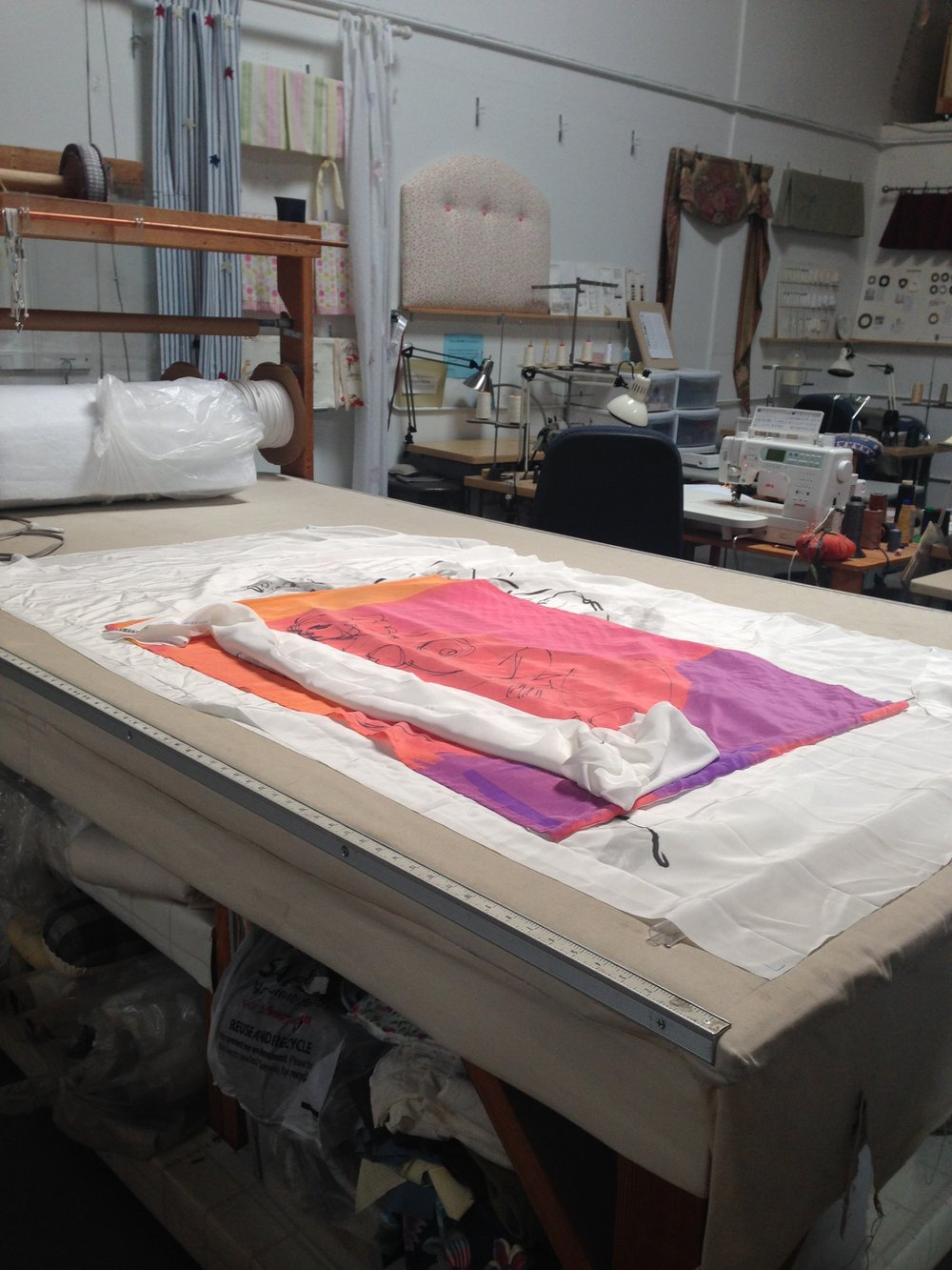 Production: Creating the Silk Scroll series in an upholstery studio