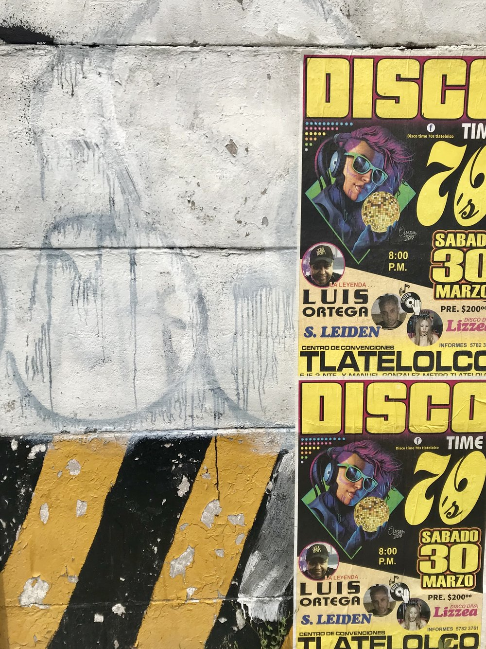 Hazard paint, grafitti and DISCO posters!