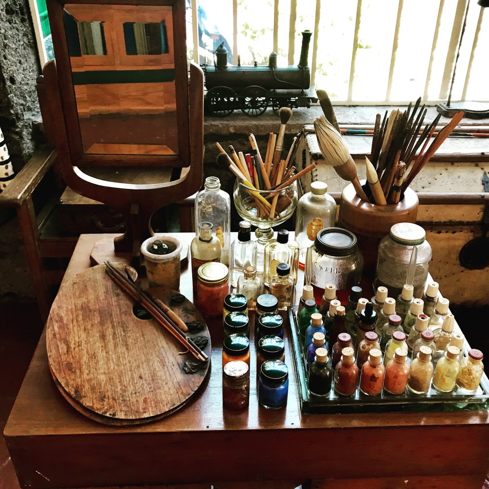 Back at Frida's house (I was a never a fan before this trip - but I am now!) is her painting studio just as she left it.