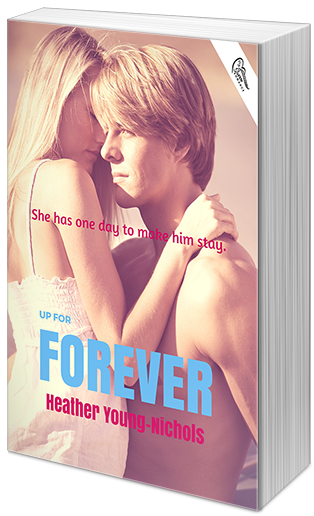 "ABOUT UP FOR FOREVER:    Title: Up for Forever (Up for Grabs #2)    Publication date: September 1, 2015    Publisher: Swoon Romance    Author: Heather Young-Nichols    For Kendra Roberts, love is for fairy tale princesses who don't live in the real world. Mr. Right? What a joke. It's more like Mr. Right Now.    But imagine her surprise when she realizes it's been two whole years, and Mr. Right Now has become something more. How the hell did that happen?    Panic sets in when Kendra finds out that Adam Burger might be planning a future for them and making her his ""Mrs."" Mrs. Burger.    Not. So. Fast.    Kendra ends things with Adam, feeling bad for letting things go this far.    After months of trying to convince herself she made the right decision, a mutual friend's wedding throws them back together again.    In one mind-blowing moment, Kendra comes to the crushing realization that she's been in love with Adam all along.    But when Adam seems to have already moved on, will Kendra fight for their forever after? Or will she let her once Mr. Right Now go and become someone else's Mr. Right?    EXCERPT:   ""Ugh,"" I groaned, ""I hate you so much."" I felt his smile against my skin, and his breath as he chuckled made me shiver to my toes.  ""Doesn't sound like it.""  ""Adam, come on … I can't … stand … "" My words were swallowed when his mouth devoured mine again like he owned it. Owned me. The thought should have sent the feminist in me running to prove the opposite but I couldn't be bothered. His kisses were still gentle but so much more demanding until we were both once again gasping for air, searching for a release that, at least for me, had been denied.  Then we found it. The pleasure that wracked my body was unlike anything I'd felt. It came in waves, with each one crashing harder until it subsided all together. Adam kissed back up my neck until I couldn't take it anymore from the way my body had become oversensitive. He pushed off, taking me in his arms so I could burrow right into him. I felt like a ragdoll that could be dragged along wherever someone wanted to take me. And I'd really enjoyed where Adam took me."