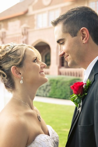 Bride and groom post wedding ceremony pictures. Wedding coordinated by Sweet I Do's Wedding Day Management Specialist in Florence Arizona