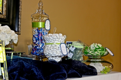 Custom blue, white and green wedding candy buffet designed by Sweet I Do's Wedding Day Management Specialist Ancala Country Club Scottsdale Arizona