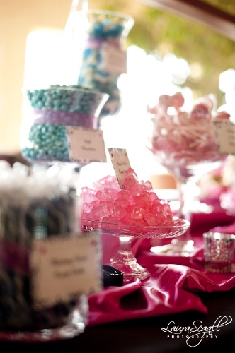 Custom pink and blue wedding candy buffet designed by Sweet I Do's Foothills Country Club Arizona