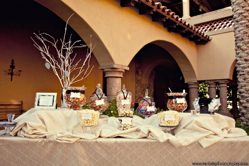 Custom neutral wedding candy buffet designed by Sweet I Do's Wedding Day Management Specialist Blackstone Country Club Arizona