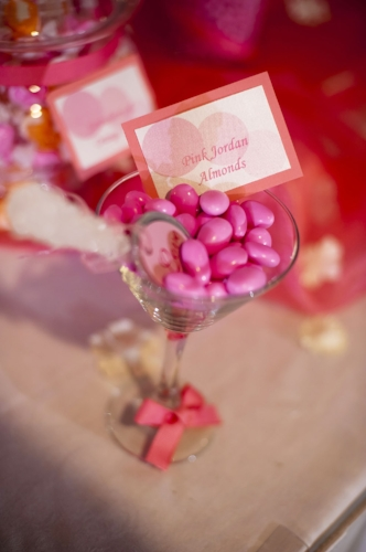 Custom pink and coral wedding candy buffet designed by Sweet I Do's Wedding Day Management Specialist Sanctuary Resort Paradise Valley Arizona
