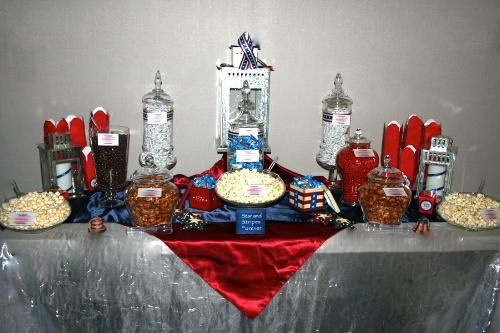Custom red, white and blue graduation party candy buffet designed by Sweet I Do's Wedding Day Management Specialist NCC Glendale Arizona