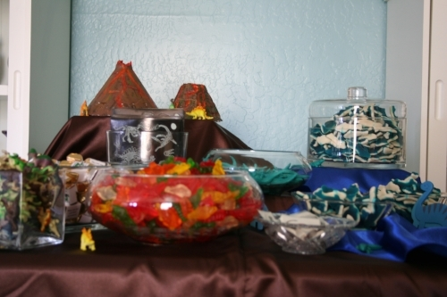 Custom adventure themed birthday party candy buffet designed by Sweet I Do's Wedding Day Management Specialist private residence Scottsdale Arizona