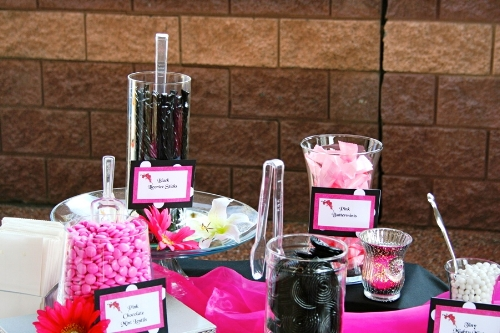 Custom pink and black bridal show candy buffet designed by Sweet I Do's Wedding Day Management Specialist Stonecreek Golf Club Paradise Valley Arizona